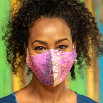 Rayon batik face masks, 'Waves and Bubbles' (pair) - 2 Contoured Double Layer Rayon Batik Elastic Loop Face Masks