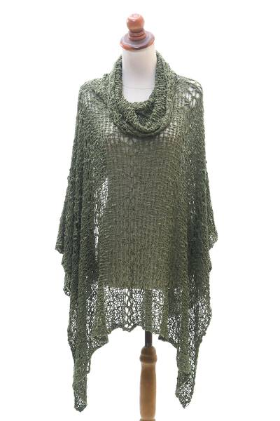 Lightweight Hand Knit Poncho in Olive from Bali