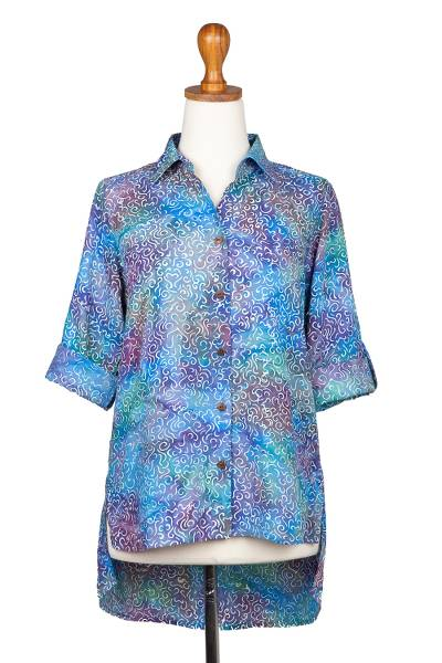 Button front rayon blouse, 'Pastel Seascape' - Roll-Tab Sleeve Button Front Batik Rayon Blouse