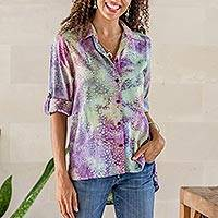 Button front rayon blouse, 'Rainbow Bubbles' - Roll-Tab Sleeve Button Front Batik Rayon Blouse
