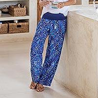 Batik rayon yoga pants, 'Bali Seaweed' - Hand Stamped Batik Rayon Yoga Pants