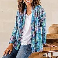 Rayon batik kimono jacket, 'Rainbow Seaweed' - Hand Stamped Rayon Kimono Jacket