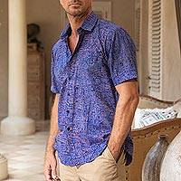 Men's batik cotton shirt, 'Long Walk' - Men's Batik Blue and Brown Cotton Shirt
