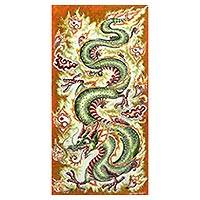 Batik on cotton painting,'Dragon's Chakra' - One-of-a-Kind Batik on Cotton Painting of Dragon