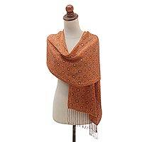 Silk batik shawl, 'Aster Orange' - Handmade Silk Batik Scarf in Orange and Black