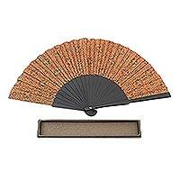 Silk batik fan, 'Aster Orange' - Hand Crafted Orange Batik Silk Fan