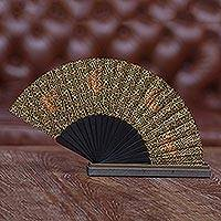 Silk batik fan, 'Maze' - Artisan Made 100% Silk Batik Fan