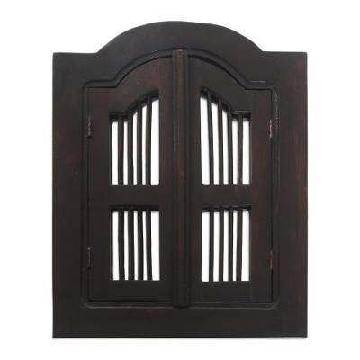 Durian Wood Framed Mirror with Shutters