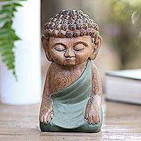 Wood statuette, 'Buddha in Green Prays' - Hand Carved Small Buddha Statuette