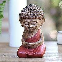 Wood statuette, 'Buddha in Red Prays' - Small Buddha Statuette Hand Carved from Wood