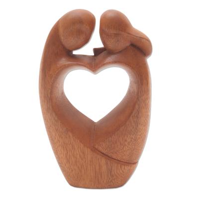 Wood sculpture, 'Loving Couple' - Unique Hand Carved Loving Couple Sculpture
