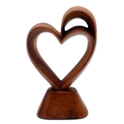 Wood sculpture, 'Outsized Love' - Romantic Wood Heart Sculpture from Bali