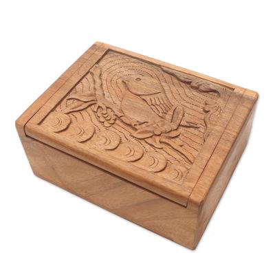 Decorative wood box, 'Perching Bird' - Hand Carved Decorative Wood Box with Bird Relief