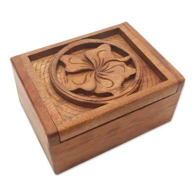 Hand Carved Wood Box with Jepun Flower Relief