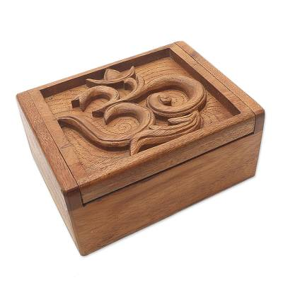 Decorative wood box, 'Ong-Kara' - Hand Carved Decorative Wood Box with Jepun Flower Relief