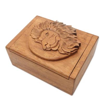 Hand Carved Wood Box with Lion Head Relief