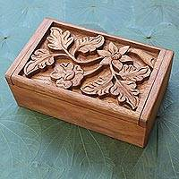 Decorative wood box, 'Growing Flower' - Wood Jewelry Box Handmade Flower and Leaf Motif
