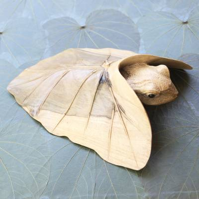 Hibiscus wood sculpture, 'Shy Frog' - Hibiscus Wood Sculpture of Frog Under Leaf