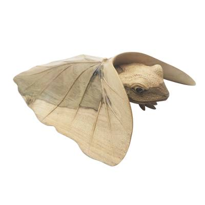 Hibiscus wood sculpture, 'Shy Frog' - Hibiscus Wood Sculpture of Frog Under Leaf