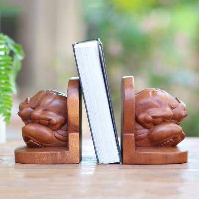 Wood bookends, 'Meditative Yogi' (pair) - Carved Wood Yogi Bookends Pair