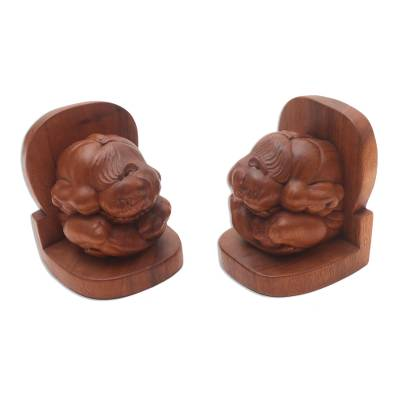 Carved Wood Yogi Bookends Pair