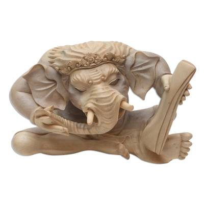 Hibiscus wood sculpture, 'Ganesha with Manuscript' - Hand Carved Hibiscus Wood Ganesha Sculpture