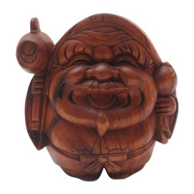 Wood sculpture, 'Ancient Healer' - Signed Wood Sculpture of Indonesian Healer