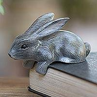 Wood statuette, 'Curious Rabbit in Grey' - Hand Carved Wood Bunny Statuette in Grey