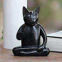 Wood statuette, 'Black Cat Meditates'