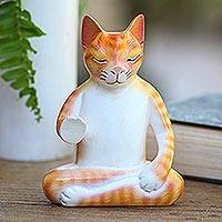 Wood statuette, 'Yellow Cat Meditates' - Hand Carved Wood Sculpture of Meditating Cat