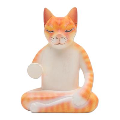 Hand Carved Wood Sculpture of Meditating Cat