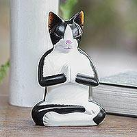Wood statuette, 'Tuxedo Cat Meditates' - Hand Carved Wood Kitty Cat Meditation Sculpture