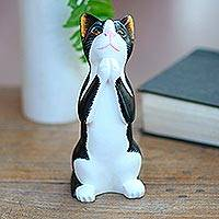 Wood statuette, 'Tuxedo Cat Makes a Wish'