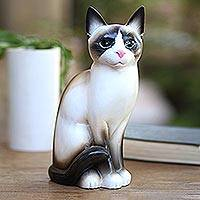 Wood statuette, 'Elegant Cat' - Realistic Hand Painted Wood Cat Statuette