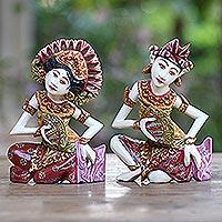 Wood sculptures, 'Kecak Janger Dancers' (pair) - Hand Crafted Balinese Dancer Sculptures (Pair)