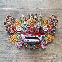 Wood mask, 'Barong Dance' - Balinese Handpainted Good vs. Evil Wood Mask