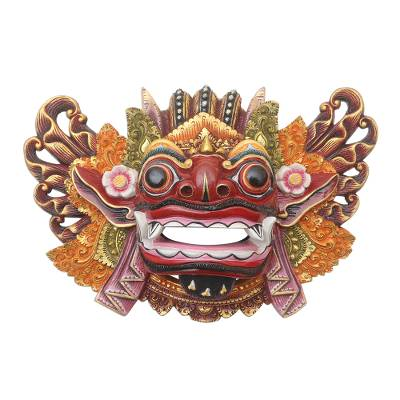 Balinese Handpainted Good vs. Evil Wood Dance Mask