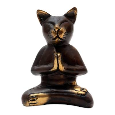 Bronze Cat Statuette in Praying Pose