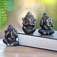 Bronze figurines, 'Three Wise Ganeshas' (set of 3) - See No Evil Bronze Ganesha Figurines (Set of 3)