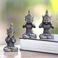 Bronze figurines, 'Three Wise Buddhas' (set of 3) - See No Evil Bronze Buddha Figurines (Set of 3)