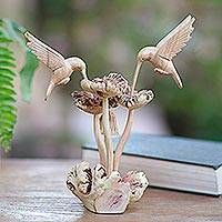 Wood sculpture, 'Hummingbirds and Mushrooms' - Unique Wood Sculpture of Hummingbirds and Mushrooms