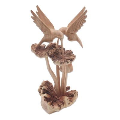 Wood sculpture, 'Hummingbirds and Mushrooms' - Unique Wood Sculpture of Hummingbirds and Mushrooms