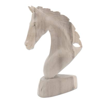 Hibiscus wood statuette, 'Proud Horse' - Hand Carved Hibiscus Wood Horse Head Sculpture