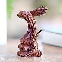 Wood sculpture, 'Advancing Snake'