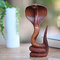 Wood sculpture, 'About to Strike' - Hand Carved Cobra Sculpture from Bali Artisan