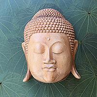 Wood mask, 'Buddha' - Natural Finish Suar Wood Buddha Mask from Bali