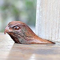 Wood doorstop, 'Eagle Head'