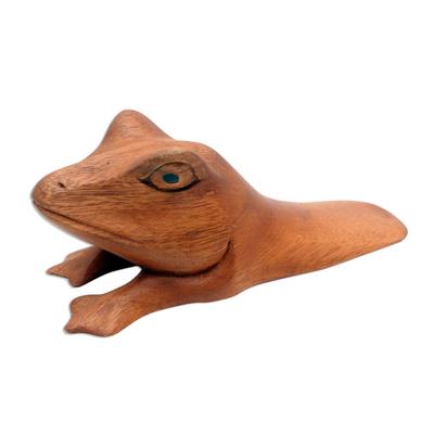 Wood door stop, 'Fanciful Frog' - Hand Carved Wood Frog Door Stop