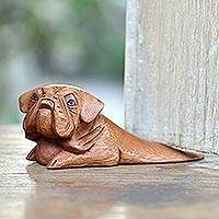 Wood doorstop, 'Pug Head' - Pug Doorstop Hand Carved from Wood