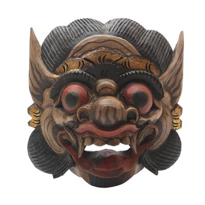 Wood mask, 'Bali Barong Bold' - Handmade Wood Mask from Bali in Good vs. Evil Theme